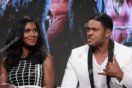"""Denise Boutte, left, and Pooch Hall participate in the """"Media"""" panel during the TV One Television Critics Association summer press tour, in Beverly Hills, Calif"""