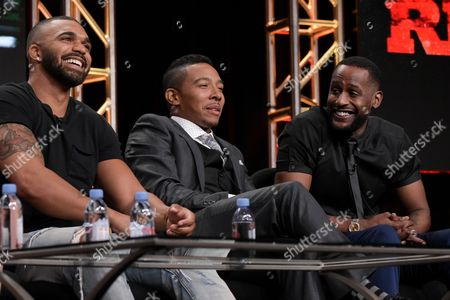 """Tyler Lepley, from left, Allen Maldonado and Jackie Long participate in the """"Ringside"""" panel during the TV One Television Critics Association summer press tour, in Beverly Hills, Calif"""
