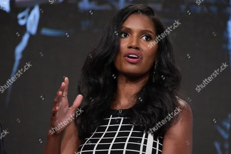 """Denise Boutte participates in the """"Media"""" panel during the TV One Television Critics Association summer press tour, in Beverly Hills, Calif"""