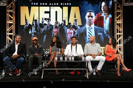"""Craig Ross Jr., from left, Kevin Arkadie, Denise Boutte, Pooch Hall, Stephen Bishop and Penny Johnson Jerald participates in the """"Media"""" panel during the TV One Television Critics Association summer press tour, in Beverly Hills, Calif"""