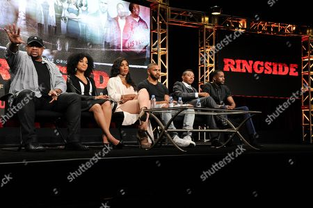 """Russ Parr, from left, Raney Branch, Sevyn Streeter, Tyler Lepley, Allen Maldonado and Jackie Long participate in the """"Ringside"""" panel during the TV One Television Critics Association summer press tour, in Beverly Hills, Calif"""