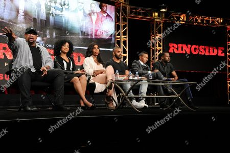 """Russ Parr, from left, Raney Branch, Sevyn Streeter, Tyler Lepley, Allen Maldonado and Jackie Long participate in the """"Ringside"""" panel during the TV One Television Critics Association summer press tour on Monday, Aug.1, 2016, in Beverly Hills, Calif"""