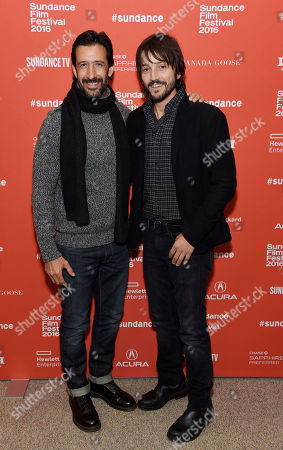 "Diego Luna, right, director and co-screenwriter of ""Mr. Pig,"" poses with cast member Jose Maria Yazpik at the premiere of the film at the 2016 Sundance Film Festival, in Park City, Utah"