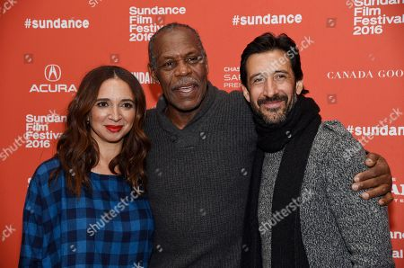 "Maya Rudolph, left, Danny Glover, center, and Jose Maria Yazpik, cast members in ""Mr. Pig,"" pose together at the premiere of the film at the 2016 Sundance Film Festival, in Park City, Utah"