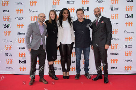 "From left, producers Bill Migliore, Lauren Beck and Kimberly Steward, actor Matt Damon and Jason Ropell, Head of Worldwide Film, Amazon Studios arrive at the ""Manchester by the Sea"" premiere on day 6 of the Toronto International Film Festival at the Princess of Wales Theatre, in Toronto"