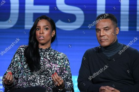 "Recording artist Kelly Rowland, left, and choreographer Frank Gatson Jr. speak on stage during the ""Chasing Destiny"" panel at the BET 2016 Winter TCA, in Pasadena, Calif"