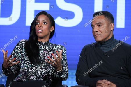 "Recording artist Kelly Rowland, left, and creative director/choreographer Frank Gatson Jr. speak onstage during the ""Chasing Destiny"" panel at the BET 2016 Winter TCA, in Pasadena, Calif"