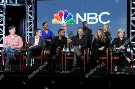 "The cast and crew of ""Game of Silence"" participate in a panel at the NBCUniversal Winter TCA, Pasadena, Calif. Pictured from back row left are Deidrie Henry, Conor O'Farrell, Demetrius Grosse and executive producer Julie Weitz, and from front row left, executive producer David Hudgins, David Lyons, Larenz Tate, Michael Raymond-James, Bre Blair and executive producer Carol Mendelsohn"