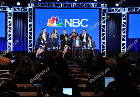 """The cast and crew of """"Superstore"""" participate in a panel at the NBCUniversal Winter TCA, Pasadena, Calif. Pictured, from back row left, are executive producer David Bernad, Nichole Bloom, Nico Santos, Colton Dunn, executive producer Ruben Fleischer, and from front row left, Lauren Ash, Mark McKinney, America Ferrera, Ben Feldman and executive producer Justin Spitzer"""
