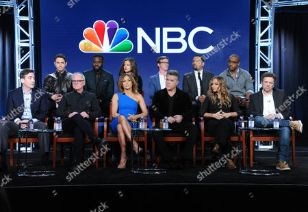 "The cast and crew of ""Shades of Blue"" participate in a panel at the NBCUniversal Winter TCA, Pasadena, Calif. Pictured, from back row left, are Santino Fontana, Dayo Okeniyi, Sarah Jeffery, Warren Kole, Vincent Laresca, Hampton Fluker, and from front row left, executive producer Jack Orman, director/executive producer Barry Levinson, actress/executive producer Jennifer Lopez, Ray Liotta, Drea de Matteo and creator/executive producer Adi Hasak"
