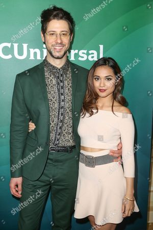 Hale Appleman, left, and Summer Bishil arrive at the 2016 NBCUniversal Winter TCA at the Langham Huntington Hotel & Spa, in Pasadena, Calif