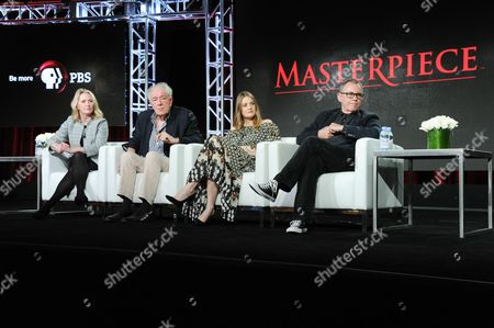 "Producer Suzanne Simpson, from left, actors Michael Gambon, Romola Garai and director Charles Sturridge participate in the ""Churchill's Secret"" panel at the PBS Winter TCA on Monday, Jan.18, 2016, in Pasadena, Calif"
