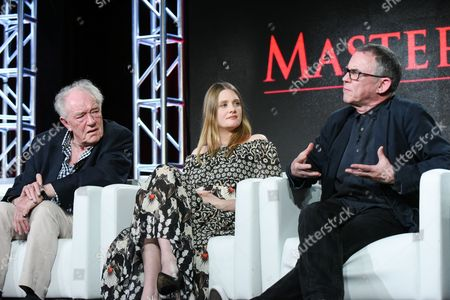 "Actors Michael Gambon, Romola Garai and director Charles Sturridge participate in the ""Churchill's Secret"" panel at the PBS Winter TCA on Monday, Jan.18, 2016, in Pasadena, Calif"