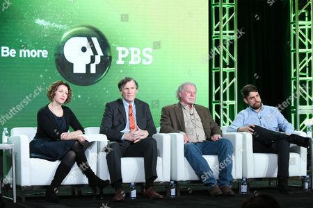 "Raney Aronson-Rath, from left, Jim Glanz, Curtis Coburn and Josh Adams participate in the ""The Fantasy Sports Gamble"" panel at the PBS Winter TCA on Monday, Jan.18, 2016, in Pasadena, Calif"