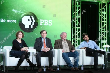 "Raney Aronson-Rath, from left, Jim Glanz, Curtis Coburn and Josh Adams participate in the ""The Fantasy Sports Gamble"" panel at the PBS Winter TCA, in Pasadena, Calif"