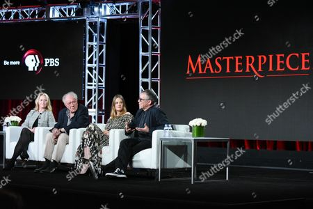 "Producer Suzanne Simpson, from left, actors Michael Gambon, Romola Garai and director Charles Sturridge participate in the ""Churchill's Secret"" panel at the PBS Winter TCA, in Pasadena, Calif"
