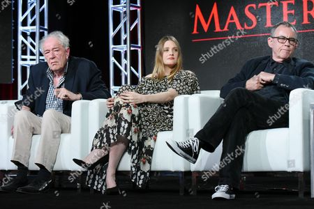 "Actors Michael Gambon, from left, Romola Garai and director Charles Sturridge participate in the ""Churchill's Secret"" panel at the PBS Winter TCA on Monday, Jan.18, 2016, in Pasadena, Calif"