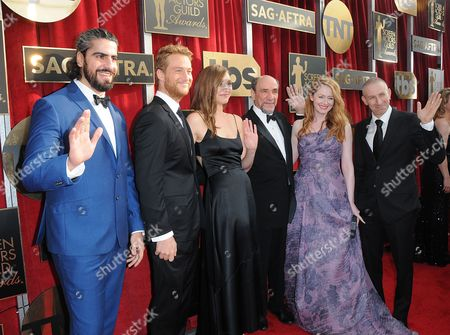 Atheer Adel, from left, Alexander Fehling, Sarah Sokolovic, F. Murray Abraham, Miranda Otto and Mark Ivanir arrive at the 22nd annual Screen Actors Guild Awards at the Shrine Auditorium & Expo Hall, in Los Angeles