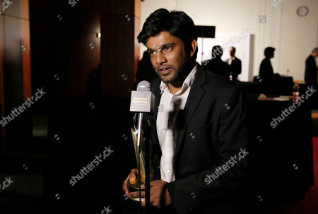"""Shubhashish Bhutiani of School of Visual Arts participates in the interview with the Directing Award for """"Kush"""" at the 35th College Television Awards, presented by the Television Academy Foundation at The Leonard H. Goldenson Theatre in the NoHo Arts District, in Los Angeles"""