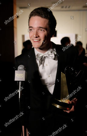 """Stock Image of Jack Carpenter, of Champlain College and winner of the award in the Alternative category for Lake Night with Jack Carpenter"""", participates in an interview at the 35th College Television Awards, presented by the Television Academy Foundation at The Leonard H. Goldenson Theatre in the NoHo Arts District, in Los Angeles"""