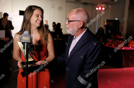 Kristin Leffler of Ithaca College and winner of The Loreen Arbus Focus on Disability Scholarship award, left, and Robert David Hall participate in an interview at the 35th College Television Awards, presented by the Television Academy Foundation at The Leonard H. Goldenson Theatre in the NoHo Arts District, in Los Angeles