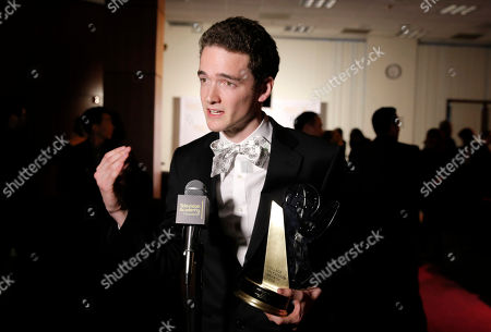 """Jack Carpenter, of Champlain College and winner of the award in the Alternative category for Lake Night with Jack Carpenter"""", participates in an interview at the 35th College Television Awards, presented by the Television Academy Foundation at The Leonard H. Goldenson Theatre in the NoHo Arts District, in Los Angeles"""