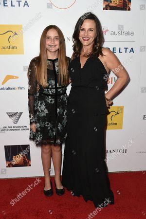 Bridgette Carides LaPaglia, left and Gia Carides seen at the 3rd Annual Australians In Film Awards at the Fairmont Miramar hotel on Sunday, October 26th, 2014, in Santa Monica, California