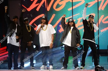 Chris Spencer (as Dr. Dre), from left, G-Thang (as MC Ren), Anthony Anderson (as Ice Cube), Mitchell Marchand (as Eazy-E) and Affion Crockett (as DJ Yella) perform during an NWA tribute at the 47th NAACP Image Awards at the Pasadena Civic Auditorium, in Pasadena, Calif