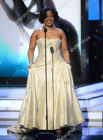 Roslyn M. Brock presents the chairman's award at the 47th NAACP Image Awards at the Pasadena Civic Auditorium, in Pasadena, Calif
