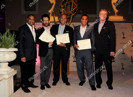 From left, Academy Governor Screech Washington and producers David Craig, Tony Romero, Doug DeLuca and Governor Steve Kent attend the Academy of Television Arts & Sciences Producer's Nominee Reception,, at the Montage Beverly Hills in Beverly Hills, Calif