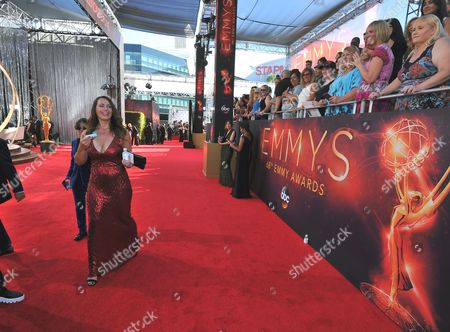 Andrea Sperling arrives at the 68th Primetime Emmy Awards, at the Microsoft Theater in Los Angeles