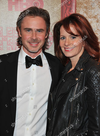 Sam Trammell, left, and Missy Yager arrive at the HBO Golden Globes after party at the Beverly Hilton Hotel, in Beverly Hills, Calif