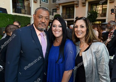 Laurence Fishburne, from left, Katrina Gilbert, and Chair, TV Academy Honors Lucia Gervino attend the 8th annual Television Academy Honors at the Montage hotel, in Beverly Hills, Calif
