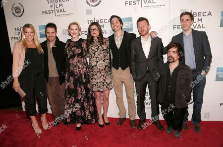 "From left, Busy Philipps, Sam Rockwell, Evan Rachel Wood, Kat Coiro, Justin Long, Keir O'Donnell, Peter Dinklage and Christian Long attend the ""A Case Of You"" premiere during the 2013 Tribeca Film Festival on in New York"