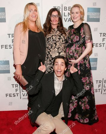 "Stock Photo of From left, actor Justin Long, actress Busy Philipps, director Kat Coiro and actress Evan Rachel Wood attend the ""A Case Of You"" premiere during the 2013 Tribeca Film Festival on in New York"
