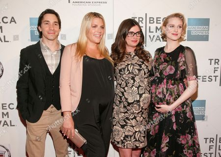 "From left, actor Justin Long, actress Busy Philipps, director Kat Coiro and actress Evan Rachel Wood attend the ""A Case Of You"" premiere during the 2013 Tribeca Film Festival on in New York"