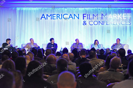 Paul Hertzberg, President & CEO,CineTel Films, Inc., from left, Eric Brenner, President, ETA Films, Shaked Berenson, Co-Founder & Producer, Epic Pictures Group, Paul Bales, Partner,The Asylum, Arianne Fraser, Founding Partner & CEO,Highland Film Group, and Tom Berry, Founder, Reel One Entertainment, participate in a panel discussion at the American Film Market (AFM) conferences held at the Fairmont Hotel, in Santa Monica, Calif