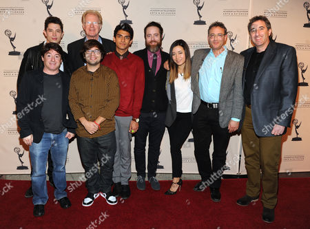 From upper left, the cast and crew of Betas, Joe Dinicol, Ed Begley Jr., Alan Cohen, Charlie Saxton, Karan Soni, Jonathan C. Daly, Maya Erskine, Michael Lehmann, and Alan Freedland are seen at the Television Academy presents Amazon Studios, on at the Leonard H. Goldenson Theatre in North Hollywood, Calif