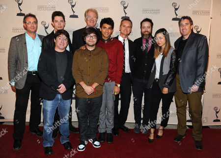 From upper left, the cast and crew of Betas, Michael Lehmann, Joe Dinicol, Ed Begley Jr., Alan Cohen, Charlie Saxton, Karan Soni, Jonathan C. Daly, Maya Erskine, and Alan Freedland are seen at the Television Academy presents Amazon Studios, on at the Leonard H. Goldenson Theatre in North Hollywood, Calif