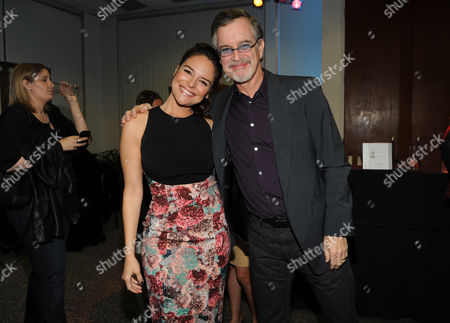From left, Yara Martinez, and Garry Trudeau, creator and executive producer of Alpha House, are seen at the Television Academy presents Amazon Studios, on at the Leonard H. Goldenson Theatre in North Hollywood, Calif