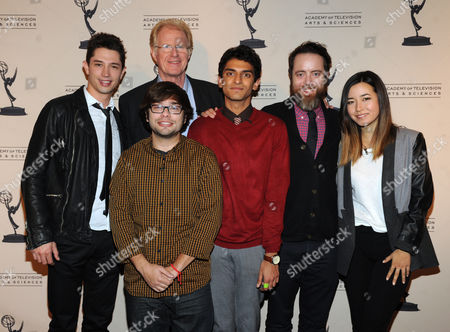 From upper left, the cast of Betas, Joe Dinicol, Ed Begley Jr., Charlie Saxton, Karan Soni, Jonathan C. Daly, and Maya Erskineare are seen at the Television Academy presents Amazon Studios, on at the Leonard H. Goldenson Theatre in North Hollywood, Calif