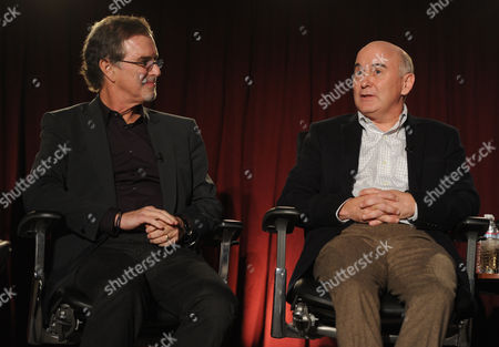 From left, Garry Trudeau, creator and executive producer of Alpha House, and Matt Malloy are seen at the Television Academy presents Amazon Studios, on at the Leonard H. Goldenson Theatre in North Hollywood, Calif