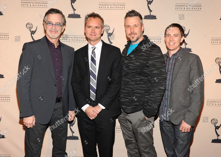 From left, Garry Trudeau, creator and executive producer of Alpha House, Roy Price, director of Amazon Studios, Josh Stoddard, writer and creator of Betas, and Evan Endicott, creator of Betas, are seen at the Television Academy presents Amazon Studios, on at the Leonard H. Goldenson Theatre in North Hollywood, Calif