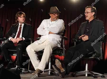 From left, Haley Joel Osment, Clark Johnson, and Garry Trudeau of Alpha House are seen at the Television Academy presents Amazon Studios, on at the Leonard H. Goldenson Theatre in North Hollywood, Calif