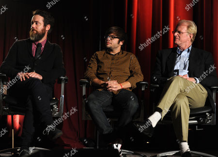 From left, Jonathon C. Daly, Charlie Saxton, Ed Begley Jr. of Betas are seen at the Television Academy presents Amazon Studios, on at the Leonard H. Goldenson Theatre in North Hollywood, Calif