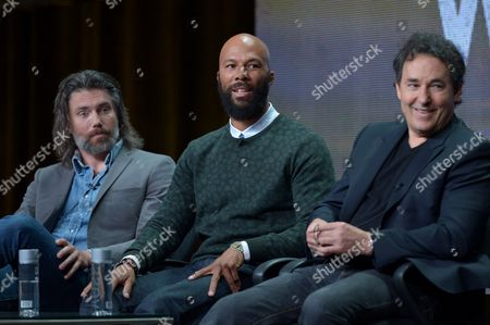 """From left, actors Anson Mount, Common, and creator John Wirth on the """"Hell on Wheels"""" panel at AMC TCA Panel at the Beverly Hilton on Friday, June 26th, 2013 in Beverly Hills, Calif"""
