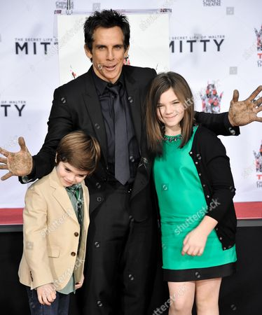 From left, Quinlin Stiller, Ben Stiller, and Ella Stiller during the Ben Stiller Hand & Footprint Ceremony at TCL Chinese Theatre on Tuesday, December, 3, 2013 in Los Angeles