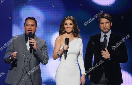 Xxx Daniel Sarcos, Marlene Favela, Rafael Amana hosts of the 2012 Billboard Mexican Music Awards at the Shrine Auditorium, in Los Angeles