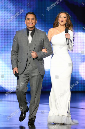 Daniel Sarcos, Marlene Favela, hosts of the 2012 Billboard Mexican Music Awards at the Shrine Auditorium, in Los Angeles