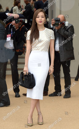 Patty Hou at the Britain London Fashion Week S/S 2014 - Burberry - Arrivals in London on